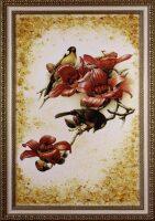 """Янтарная картина """"Птицы в красных цветах"""""""