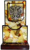 Визитница из янтаря с гербом