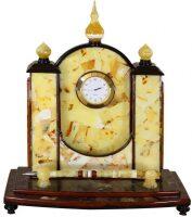 Часы настольные из янтаря с ручкой