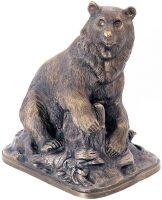 """Скульптура бронзовая """"Медведь на пне"""""""