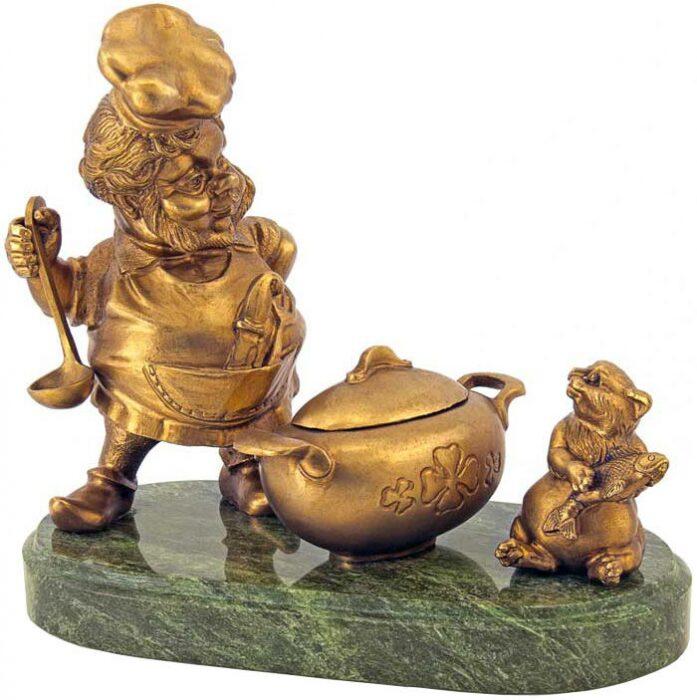 "Скульптура бронзовая ""Гном-повар""- 0"