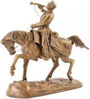 "Скульптура бронзовая ""Гусар-трубач удерживает лошадь"""