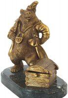 """Скульптура бронзовая """"Медведь с сундуком"""""""