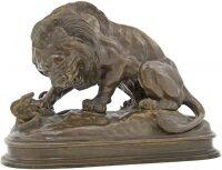 """Скульптура бронзовая """"Лев, убивающий змею"""""""