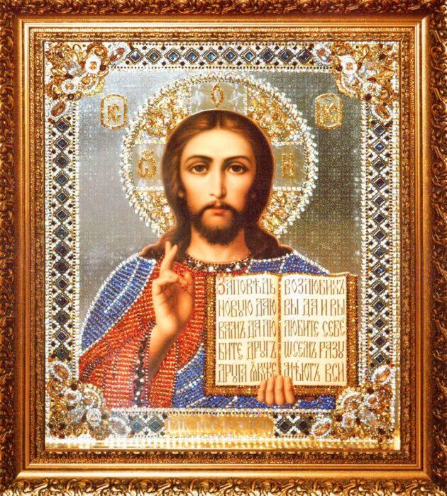 """Икона с драгоценными камнями """"Господь Вседержитель"""" с фианитами- 0"""