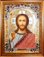 """Икона с драгоценными камнями """"Господь Вседержитель"""" с цитринами"""
