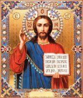"""Икона с драгоценными камнями """"Господь Вседержитель"""" с топазами позолоченная"""