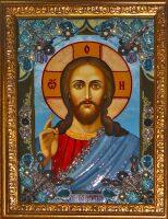 """икона с драгоценными камнями """"Господь Вседержитель"""" с цитринами позолоченная"""