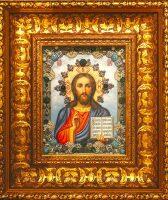 """Икона с драгоценными камнями """"Господь Вседержитель"""" с ониксами позолоченная маленькая"""