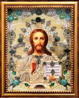 """Икона с драгоценными камнями """"Господь Вседержитель"""" с цитринами позолоченная маленькая"""