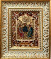"""Икона с драгоценными камнями """"Святая Троица"""" с топазами"""