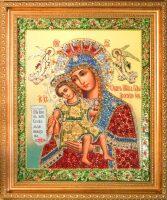 """Икона с драгоценными камнями """"Почаевская Богоматерь"""" с цирконием"""