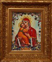 """Икона с драгоценными камнями """"Владимирская Богоматерь"""" с цирконием позолоченная маленькая"""