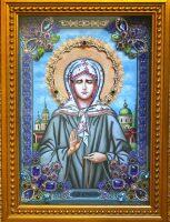 """Икона с драгоценными камнями """"Матрона Московская"""" позолоченная"""
