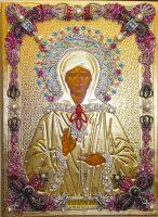 """Икона с драгоценными камнями """"Матрона Московская"""" позолоченная маленькая"""