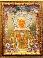 """Икона с драгоценными камнями """"Матрона Московская"""" с жемчугом позолоченная маленькая"""