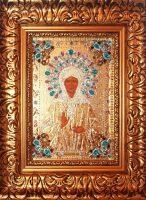 """Икона с драгоценными камнями """"Матрона Московская"""" с цирконием позолоченная маленькая"""