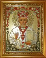"""Икона с драгоценными камнями """"Николай Мирликийский"""" позолоченная"""