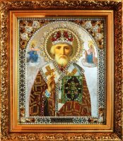 """Икона с драгоценными камнями """"Николай Мирликийский"""" позолоченная маленькая"""