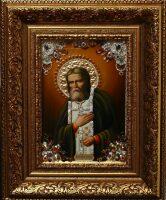 """Икона с драгоценными камнями """"Святой Серафим Саровский"""" позолоченная маленькая"""