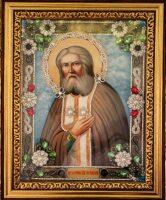 """Икона с драгоценными камнями """"Святой Серафим Саровский"""" с жемчугом позолоченная"""