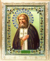 """Икона с драгоценными камнями """"Святой Серафим Саровский"""" с цирконием"""