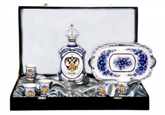 """Набор для водки """"Подарочный"""" на 6 персон, с золотым изображением Орла- 0"""