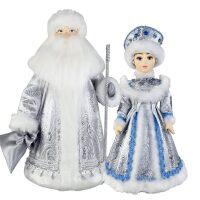 """Набор кукол под ёлку """"Дед Мороз и Снегурочка в серебре"""""""
