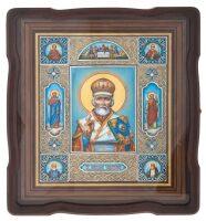"""Икона """"Николай Чудотворец и 7 святых"""" в коробе, финифть"""