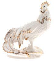 """Фарфоровая статуэтка """"Петух Феникс"""" белый в золоте"""