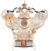 """Часы каминные фарфоровые """"Орёл державный"""" цветной в золоте- 0"""