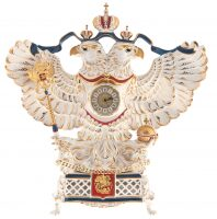 """Часы каминные фарфоровые """"Орёл державный"""" цветной в золоте"""