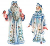 """Фарфоровые статуэтки """"Дед Мороз и Снегурочка"""""""