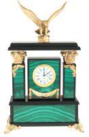 """Часы каминные из малахита """"Орел"""""""