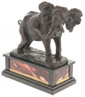 """Скульптура из бронзы """"Слон"""" с яшмой"""