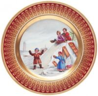"""Декоративная тарелка  Императорский фарфоровый завод """"Mazarin - Зимние горы. Гурьевский"""""""