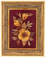 """Картина из янтаря """"Цветы"""" на красном паспарту"""