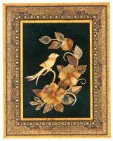 """Картина из янтаря """"Цветы"""" на зеленом паспарту"""