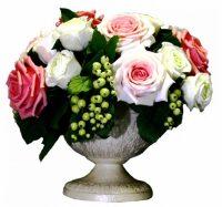 """Цветы керамические """"Белые и розовые розы со смородиной"""""""