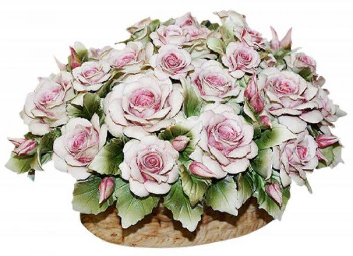 """Декоративная корзинка  Artigiano Capodimonte """"Розовые розы"""" - 0"""