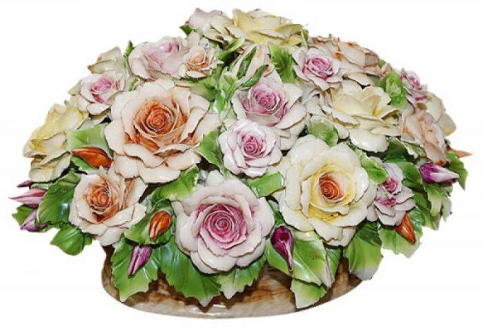 """Декоративная корзинка  Artigiano Capodimonte """"Разноцветные розы"""" - 0"""