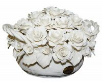 """Керамические цветы в корзине  Artigiano Capodimonte """"Белые розы"""""""