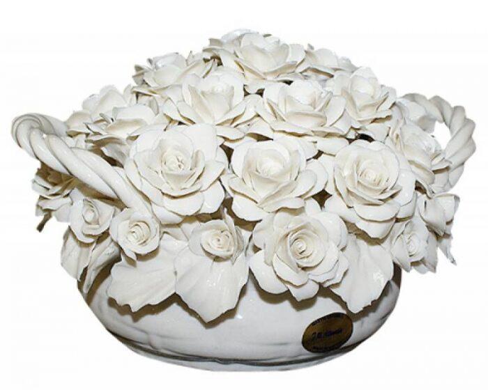 """Керамические цветы в корзине  Artigiano Capodimonte """"Белые розы"""" - 0"""