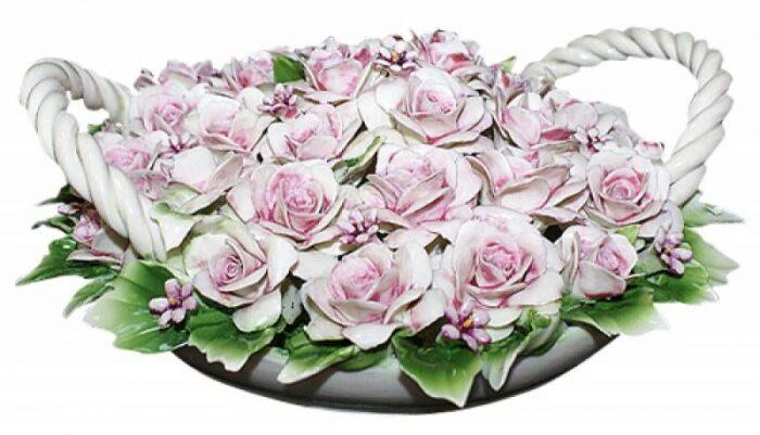 """Декоративная корзина  Artigiano Capodimonte """"Розовые розы""""  с двумя ручками- 0"""