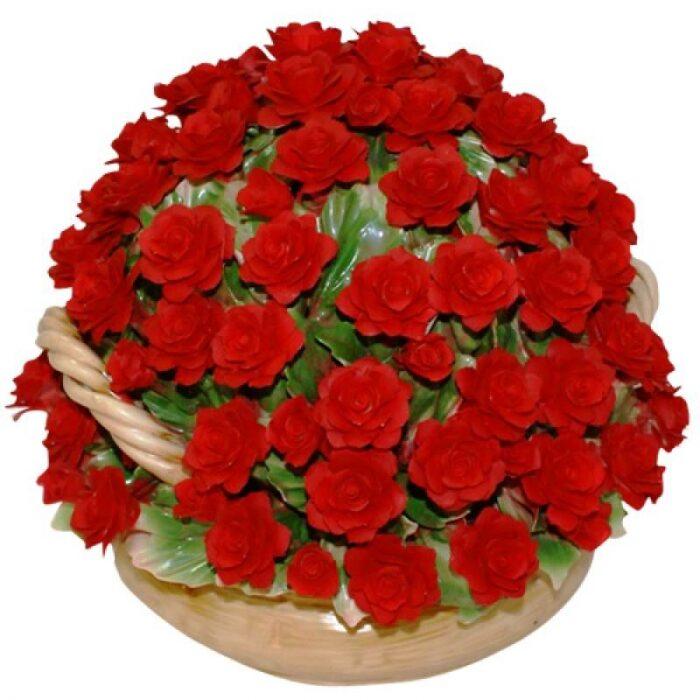 Декоративная корзина с красными розами Artigiano Capodimonte- 0