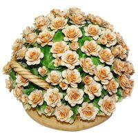 Декоративная корзина с желтыми розами Artigiano Capodimonte