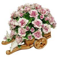Декоративная тележка с розовыми розами и птичками Artigiano Capodimonte