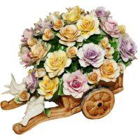 Декоративная тележка с разноцветными розами и птичками Artigiano Capodimonte