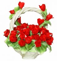 Декоративная корзина с ручкой с красными розами Artigiano Capodimonte