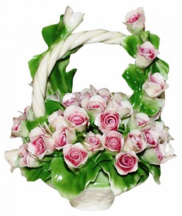 Декоративная корзина с ручкой с розовыми розами Artigiano Capodimonte- 0